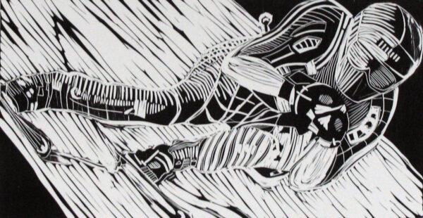 Peer, serie 25, vinylcut on paper,12 x 6in