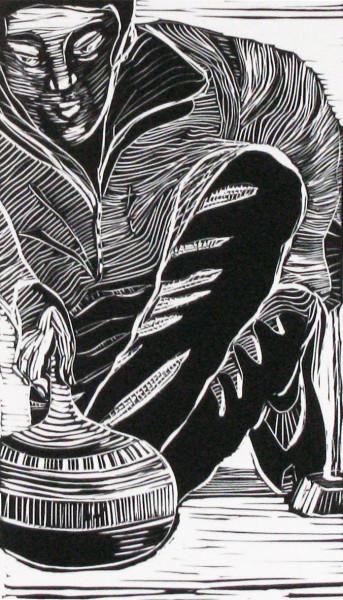 Skill, serie 25, vinylcut, on paper 6x83-4in